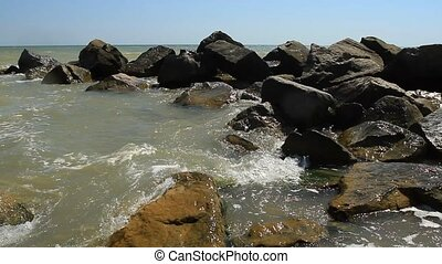 Sea splashing on the stone coast in Odessa region