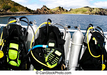 Sea Sport -Scuba Diving - Diving Equipment on a Diving Boat ...