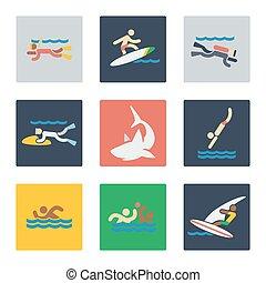 Sea sports flat icons
