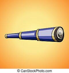 Sea spyglass icon, cartoon style