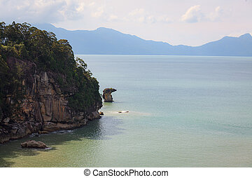 Sea stack rock formation in Bako national park Malaysia - ...