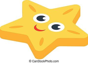 Sea star bath toy icon, isometric style