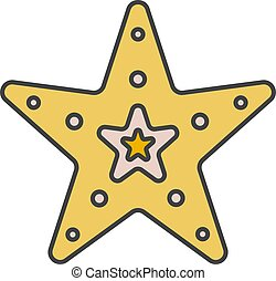 Sea star color icon