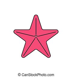 Sea star icon, cartoon style