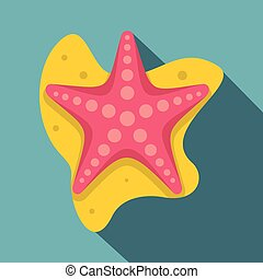 Sea star icon, flat style