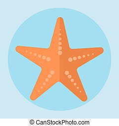 Sea star icon in flat style