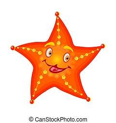 Sea star isolated on white background. Cute cartoon orange starfish.