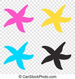 Sea star sign. CMYK icons on transparent background. Cyan,...