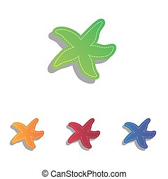Sea star sign. Colorfull applique icons set.