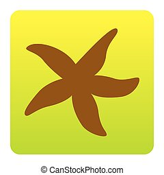 Sea star sign. Vector. Brown icon at green-yellow gradient square with rounded corners on white background. Isolated.