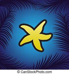 Sea star sign. Vector. Golden icon with black contour at blue ba