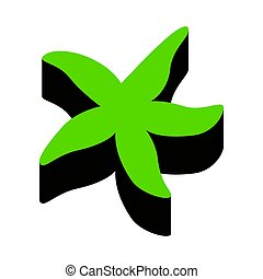 Sea star sign. Vector. Green 3d icon with black side on white ba