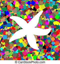 Sea star sign. Vector. White icon on colorful background with se