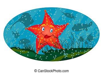 Sea star under the sea on marine background. Cute cartoon red starfish.