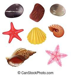 Sea Stones, Sea Shells, Starfish. Isolated Realistic Objects. Vector Set Icons.