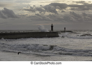 Sea storm at dusk