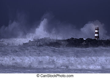 Sea storm at night