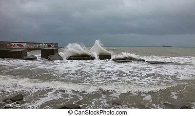 Sea storm in winter