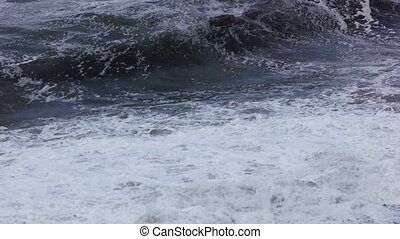 Sea storm waves near coast