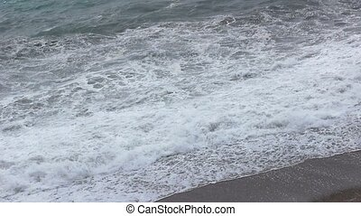 Sea storm, waves near coast