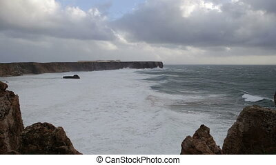 Sea storm with dramatic sky in Sagres.