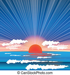 Sea sundown - Illustration, sundown on background epidemic...