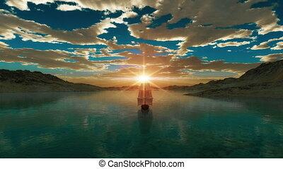 sea sunset old ship 4k