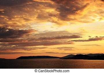 Sea sunset over Split, Croatia - Beautiful sea sunset over...