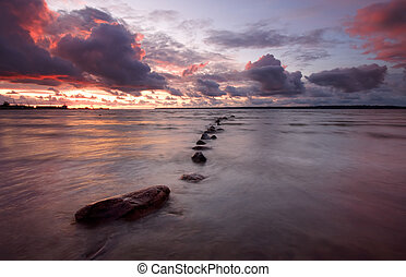 Sea sunset, long exposure