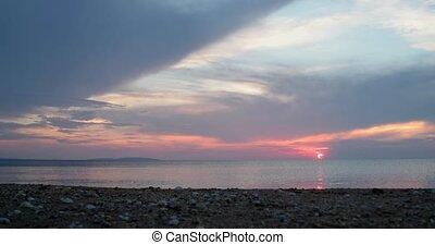 Sea Sunset Timelapse. Sun Setting Over Azov Sea, Crimea
