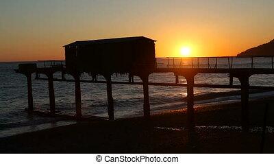 sea sunset with beach