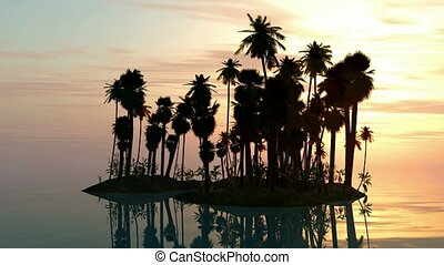 Sea sunset with island and palms
