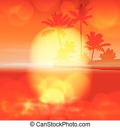Sea sunset with palm tree and light on lens