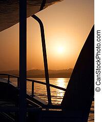 Sea Sunset. Yacht cruise