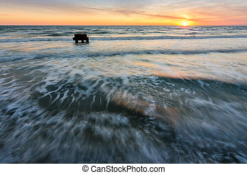Sea surf at sunset, the Black Sea, Anapa, Russia