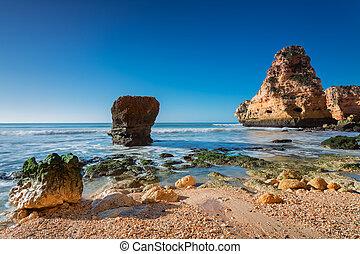 Sea surf wave magnificent landscape. Portugal, Albufeira.