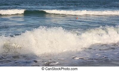 Sea Surf Waves and Buoys.