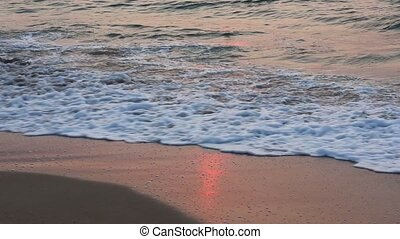 Sea Surf Waves on Sandy Morning Bea