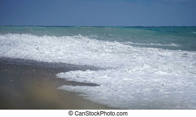 Sea surface shot with static cam, beautiful waves, seamless...