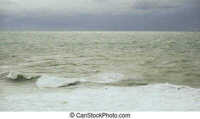 Sea swell on the water surface with waves