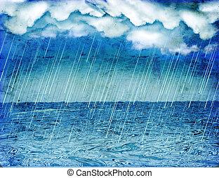 sea., tło, chmury, padając, burza, ciemny, rocznik wina, ...