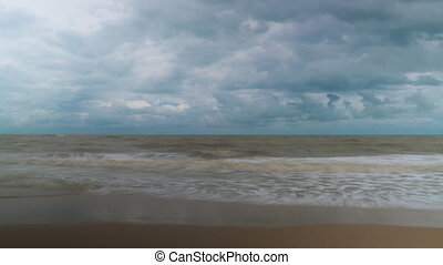 Sea tide and clouds time lapse video clip