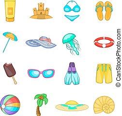 Sea tour icons set, cartoon style
