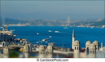 Sea traffic in Bosphorus strait. Aerial view. Titl-shift....