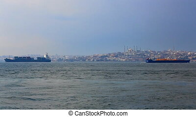 Sea traffic in Bosphorus strait. Ships in Bosporus strait....