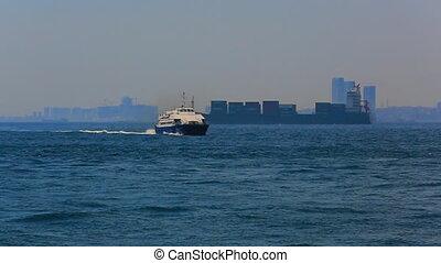Sea traffic in Bosphorus strait. Ships in Bosporus strait. Istanbul. Turkey.