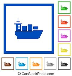 Sea transport framed flat icons