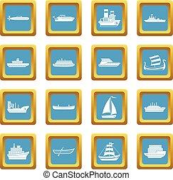 Sea transport icons azure