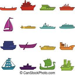 Sea transport icons doodle set