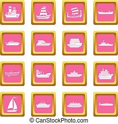 Sea transport icons pink
